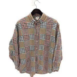 J. CREW L Shirt Cotton Madras Patchwork Oxford